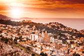 View of Marseille at sunset, the city on the background of the s — Stock Photo