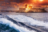 Chateau d'If, Marseille, France, colorful seascape with sunset s — Stock Photo