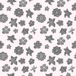 Monochrome hand drawn flowers. Seamless pattern. — Stock Vector #43414861