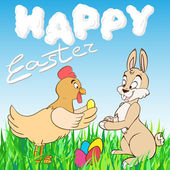 """Cartoon chicken and the Easter Bunny """"Happy Easter"""" — Stock Vector"""