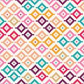 Pixelated красочных племенных бесшовный фон — Cтоковый вектор