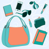 What is stored in the women's bag? — Stock Vector