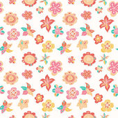 Colorful hand drawn flowers. Seamless pattern. — Stock Vector