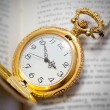 Vintage pocket watch lying on the book, retro style — Stock Photo #43515719