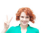 Emotional happy young red-haired woman, isolated on white backgr — Stock Photo