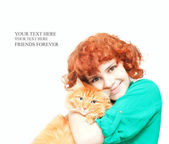 Curly red-haired girl with a red cat isolated on white — Stock Photo