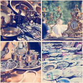 Vintage crockery at a flea market — Stock Photo