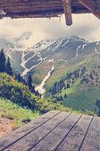 Mountain view from gazebo. — Stock Photo