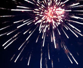 Defocused image of fireworks — Stock Photo