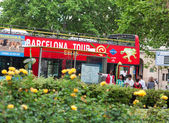 Editorial image, May 22, 2014 Spain, Catalonia, tourist bus in B — Stock Photo