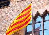 Spanish flag on the building background — Stock Photo
