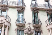 House with balconies, European architecture, Barcelona  — Stock Photo
