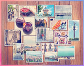 Barcelona collage, a few photos on a wooden background, postcard — Foto Stock
