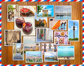 Barcelona collage, a few photos on a wooden background, postcard — Stock Photo