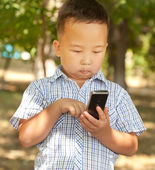 Asian boy 6 years old with a mobile phone in a park — Stok fotoğraf