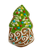 Ginger and Honey cookie in the shape of a Christmas fir tree wit — Foto Stock