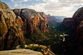 Zion Canyon as seen from Angels Landing at Zion National Park in — Stock Photo