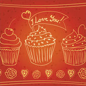 """""""I love you!"""" doodle cupcakes — Stock Vector"""
