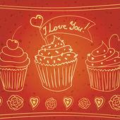 """Cupcakes de doodle """"eu te amo — Vetor de Stock"""