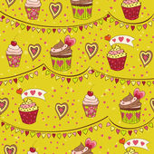 Amor coloridos cupcakes — Vector de stock