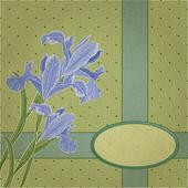 Blueflag bloemen frame — Stockvector