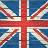 Britain Flag on Wood Texture — Stock Vector