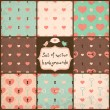 Cute Seamless Vector Patterns with Hearts. — Stockvektor
