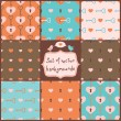 Cute Seamless Vector Patterns with Hearts. — Stockvectorbeeld