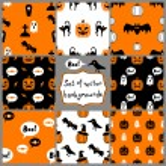Set of Halloween Seamless Patterns — Stock Vector
