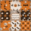 Set of Halloween Seamless Patterns — Stock Vector