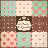 Cute Seamless Vector Patterns with Hearts. — Stock Vector