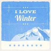 Retro Winter Landscape — Stock Vector