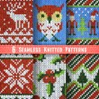 Set of Six Seamless Knitted Patterns — Stock Vector