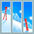 Set of banners with sunny winter landscape — Stock Vector #35955545