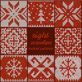 Set of Eight Seamless Knitted Patterns — Stock Vector