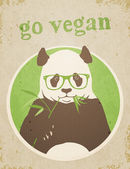 """Go Vegan"" Panda Bear — Stock Vector"