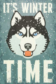 Winter Poster with Husky — ストックベクタ