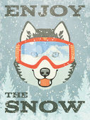 Winter Poster with Husky — Stockvektor
