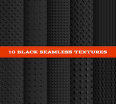 Set of Ten Black Seamless Textured Patterns. — Stock Vector