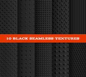 Set of Ten Black Seamless Textured Patterns. — Stock Vector