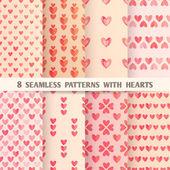 Satz von acht nahtlose Muster mit Herzen — Stockvektor