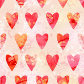 Romantic Watercolor Background with Hearts — Vector de stock