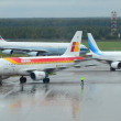 Стоковое фото: MOSCOW - SEPTEMBER 6: IBERIA, YAMAL and CATHAY PACIFIC airlines in Domodedovo International, Moscow on Sept. 6, 2013. Airport activity: arriving YAMAL and departing IBERIA aircrafts in Domodedovo Int.