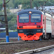 VORONEZH - MAY 12: Russian Railways suburban electric train ED9M moves from Voronezh central station in Voronezh city on May 12, 2013. — Stock Photo