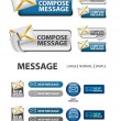 Collection of compose message icons and buttons — Stock Vector #20357063