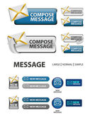 Collection of compose message icons and buttons — Stock Vector