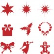 Christmas retro icons, elements — Stock Vector
