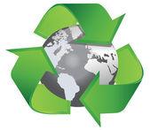 Recycle arrows earth — Stock Vector