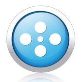 Movie silver blue button design — Stock Vector