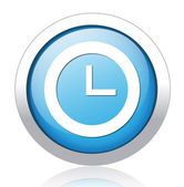 Clock silver blue button design — Stock Vector